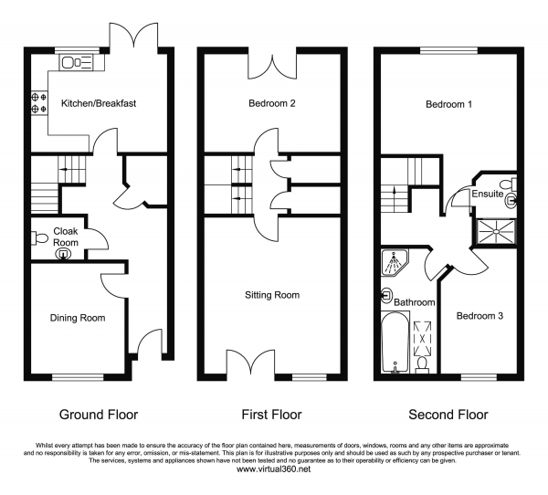 Floor Plan Image for 3 Bedroom Town House for Sale in Morgan Row, Lower Hillmorton Road, Rugby