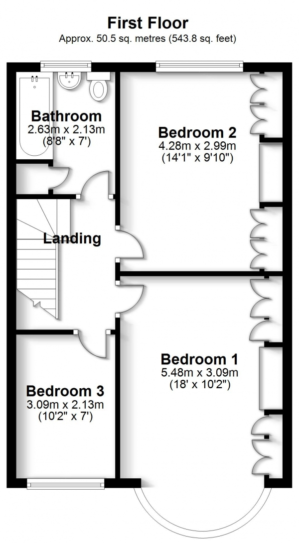 Floor Plan Image for 3 Bedroom Terraced House for Sale in Kingscote Road, Addiscombe