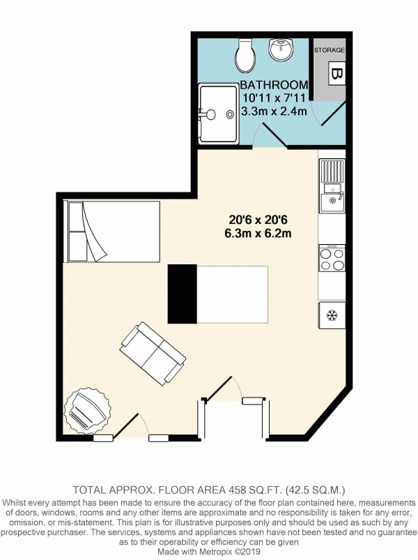 Floor Plan Image for 1 Bedroom Apartment to Rent in 148 Oxford Street, Bristol