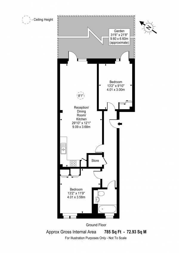 Floor Plan Image for 2 Bedroom Flat for Sale in Woodcroft Apartments, Silverworks Close, The Hyde, Colindale, London, NW9 0DW