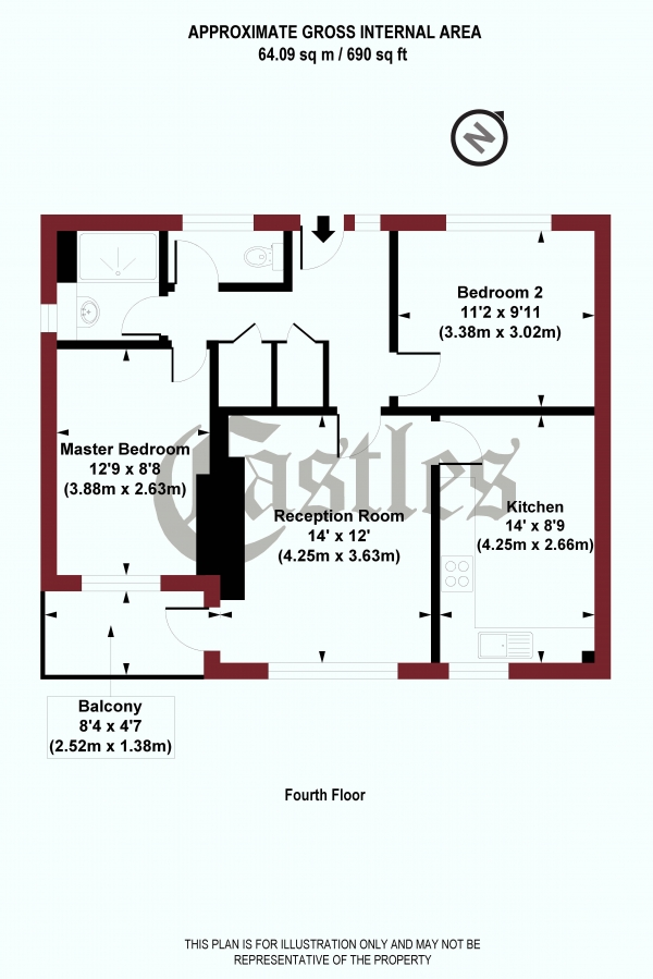 Floor Plan Image for 2 Bedroom Apartment for Sale in Hillrise Mansions, Warltersville Road, N19