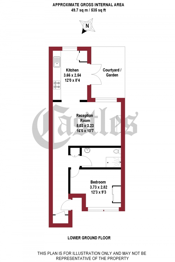 Floor Plan Image for 1 Bedroom Apartment for Sale in Sparsholt Road, N19