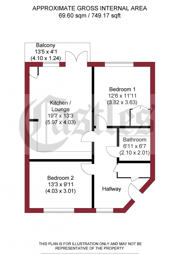 Floor Plan for 2 Bedroom Flat for Sale in Lovett Court, Enfield, Dairy Close, EN3, 6PS -  &pound285,000