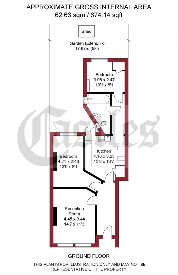 Floor Plan Image for 2 Bedroom Apartment for Sale in Sirdar Road, London, N22
