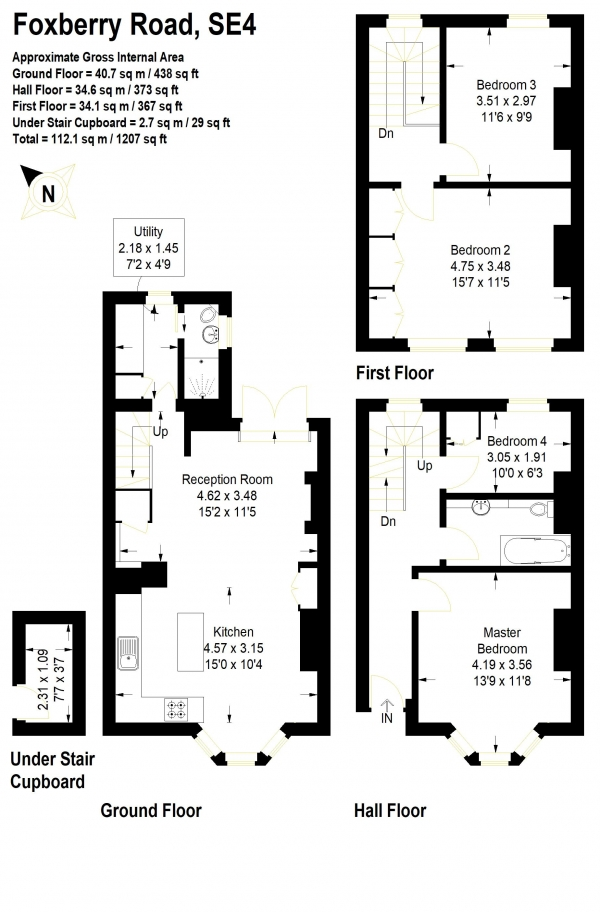 Floor Plan Image for 4 Bedroom Terraced House for Sale in Foxberry Road, Brockley