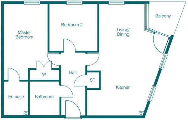 Floor Plan Image for 2 Bedroom Apartment for Sale in Park View Development, Claypit Lane, West Bromwich, B70 9UJ
