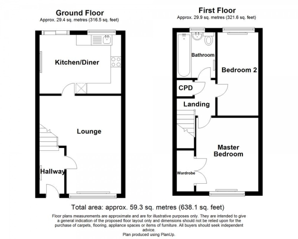 Floor Plan Image for 2 Bedroom Terraced House for Sale in The Croft, Killingworth, Newcastle upon Tyne