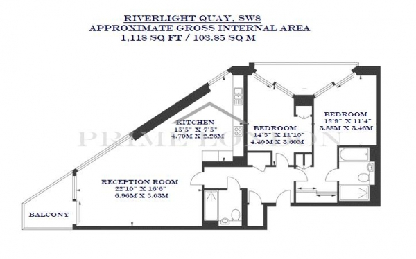 Floor Plan Image for 2 Bedroom Apartment to Rent in Two Riverlight Quay, Nine Elms, London
