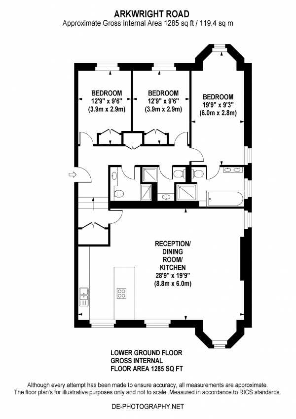 Floor Plan Image for 3 Bedroom Apartment to Rent in Arkwright Road, Hampstead, London, NW3