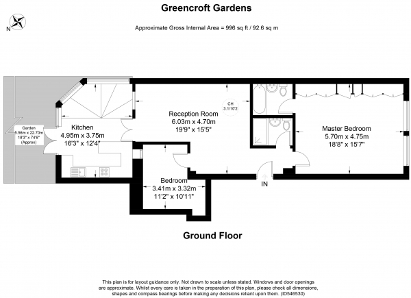 Floor Plan Image for 2 Bedroom Apartment for Sale in Greencroft Gardens, South Hampstead, NW6
