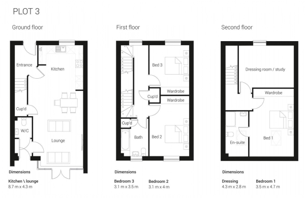 Floor Plan Image for 4 Bedroom Semi-Detached House for Sale in BRAND NEW 3/4 BEDROOM HOME - READY TO MOVE IN