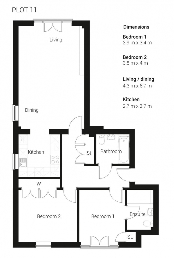 Floor Plan Image for 2 Bedroom Apartment to Rent in Brand New Development - Ready to move in to