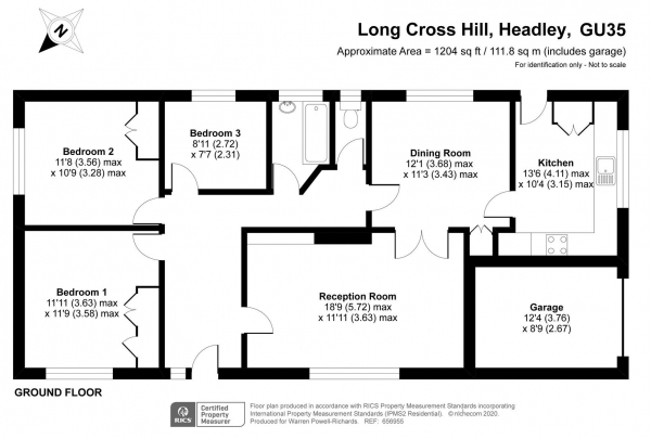 Floor Plan Image for 3 Bedroom Detached Bungalow for Sale in No onward chain - Long Cross Hill, Arford, Headley