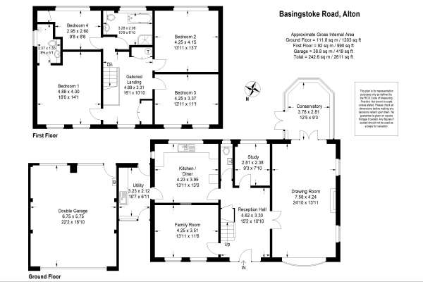 Floor Plan Image for 4 Bedroom Detached House for Sale in Overlooking water meadows - Basingstoke Road, Alton, Hampshire