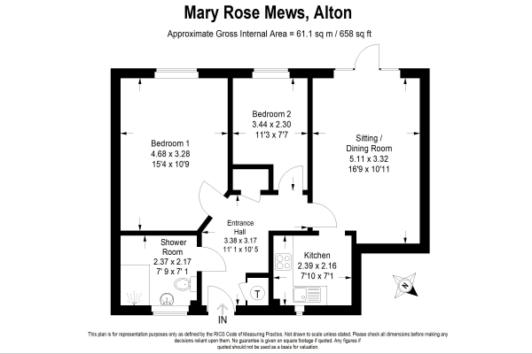 Floor Plan Image for 2 Bedroom Retirement Property for Sale in Ground floor apartment at Mary Rose Mews, Alton, Hampshire