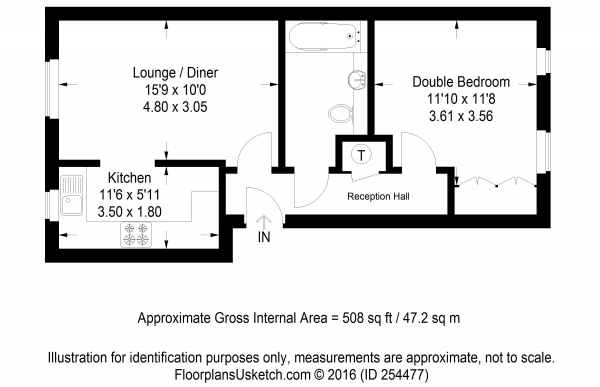 Floor Plan Image for 1 Bedroom Flat to Rent in Alton