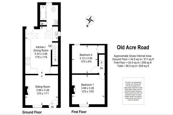 Floor Plan Image for 2 Bedroom Semi-Detached House for Sale in Old Acre Road, Alton, Hampshire