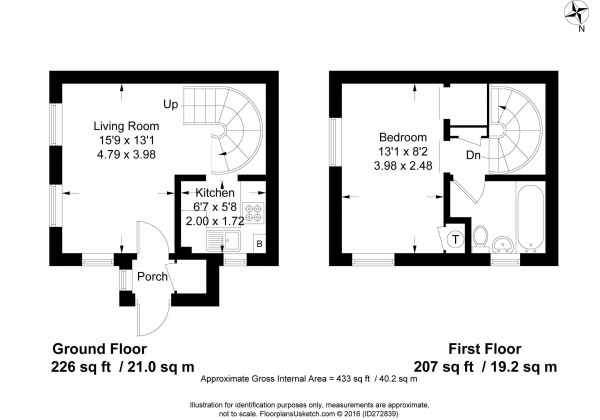 Floor Plan Image for 1 Bedroom End of Terrace House to Rent in Alton