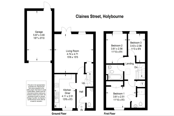 Floor Plan Image for 3 Bedroom End of Terrace House for Sale in Between Holybourne and Alton, Hampshire