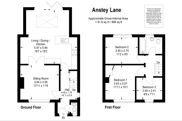 Floor Plan Image for 3 Bedroom Terraced House for Sale in Anstey Lane, Alton, Hampshire