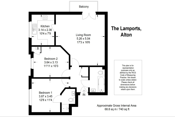 Floor Plan Image for 2 Bedroom Apartment for Sale in The Lamports, Alton, Hampshire