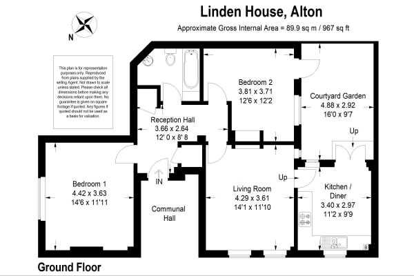 Floor Plan Image for 2 Bedroom Ground Flat for Sale in Turk Street, Alton, Hampshire