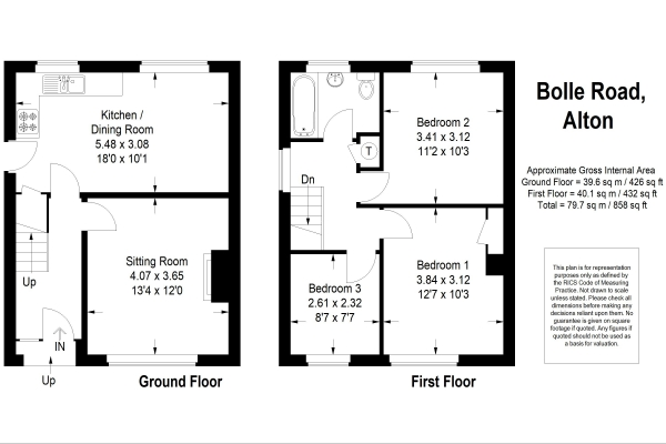 Floor Plan Image for 3 Bedroom Semi-Detached House for Sale in Bolle Road, Alton, Hampshire