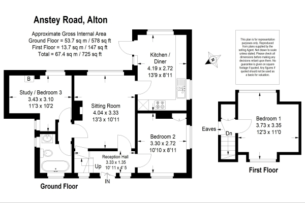 Floor Plan Image for 3 Bedroom Detached Bungalow for Sale in Anstey Conservation Area, Alton, Hampshire
