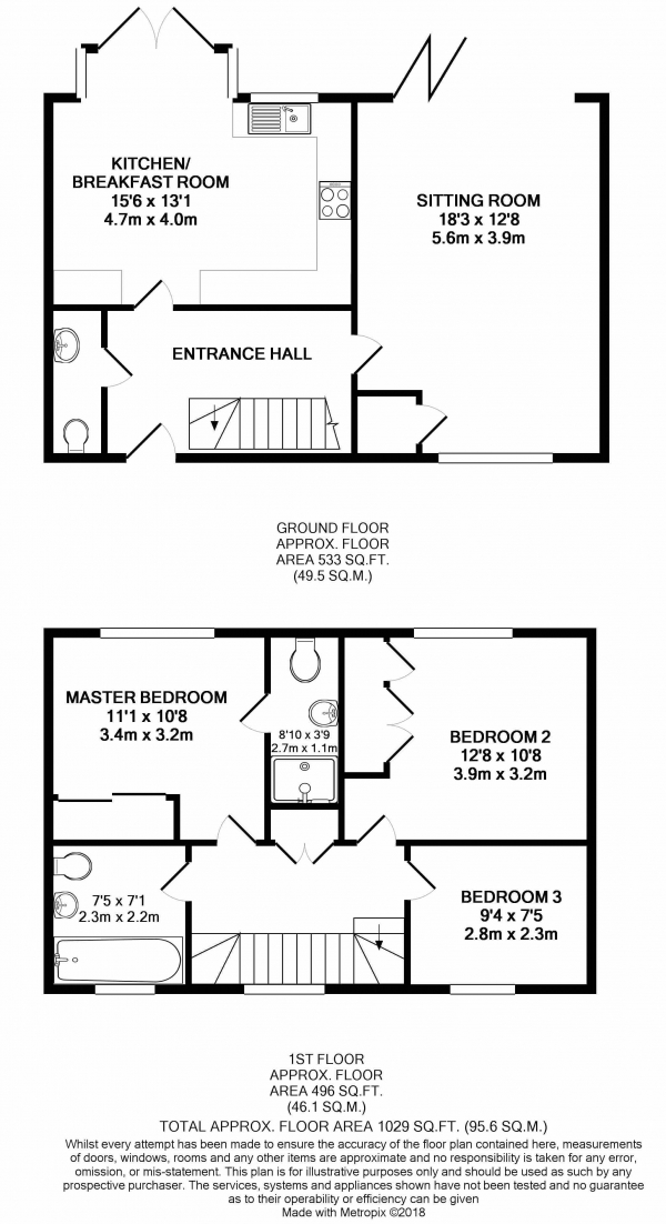 Floor Plan Image for 3 Bedroom Terraced House to Rent in Trimming Close, Farnham