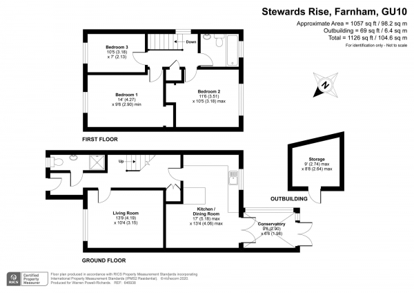 Floor Plan Image for 3 Bedroom End of Terrace House for Sale in Stewards Rise, Farnham