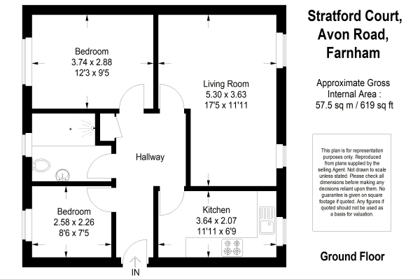 Floor Plan Image for 2 Bedroom Ground Flat for Sale in Avon Road, Farnham