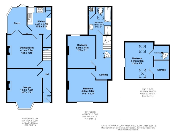 Floor Plan Image for 3 Bedroom Semi-Detached House for Sale in Cobden Road, Chesterfield, S40 4TD