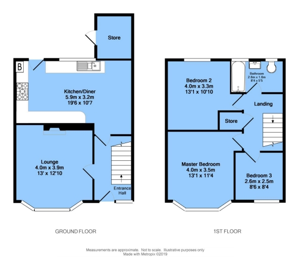 Floor Plan Image for 3 Bedroom Semi-Detached House for Sale in Outram Road, Chesterfield, S41 7DW