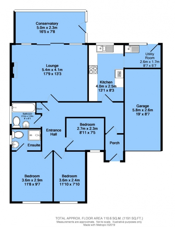Floor Plan Image for 3 Bedroom Detached Bungalow for Sale in Rykneld Rise, Wingerworth, Chesterfield, S42 6XH