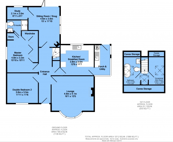 Floor Plan Image for 2 Bedroom Detached Bungalow for Sale in Nethermoor Road, New Tupton, Chesterfield, S42 6EW