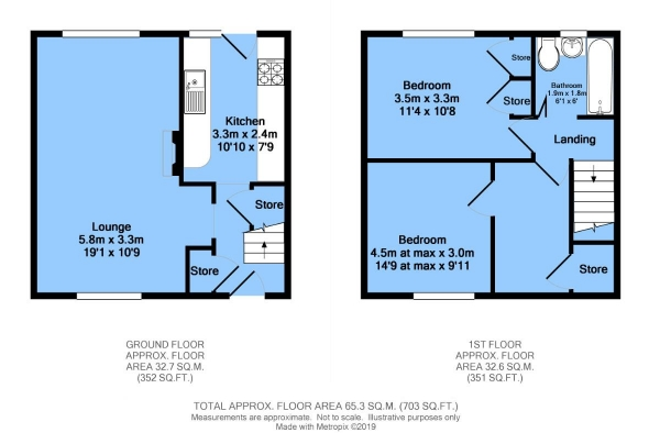 Floor Plan Image for 2 Bedroom End of Terrace House for Sale in Queensway, Pilsley, Chesterfield, S45 8HT