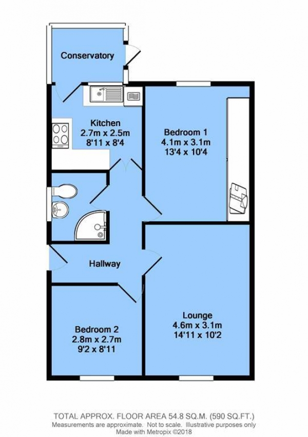 Floor Plan Image for 2 Bedroom Semi-Detached Bungalow for Sale in Colton Close, Dunston, Chesterfield, S41 8JL
