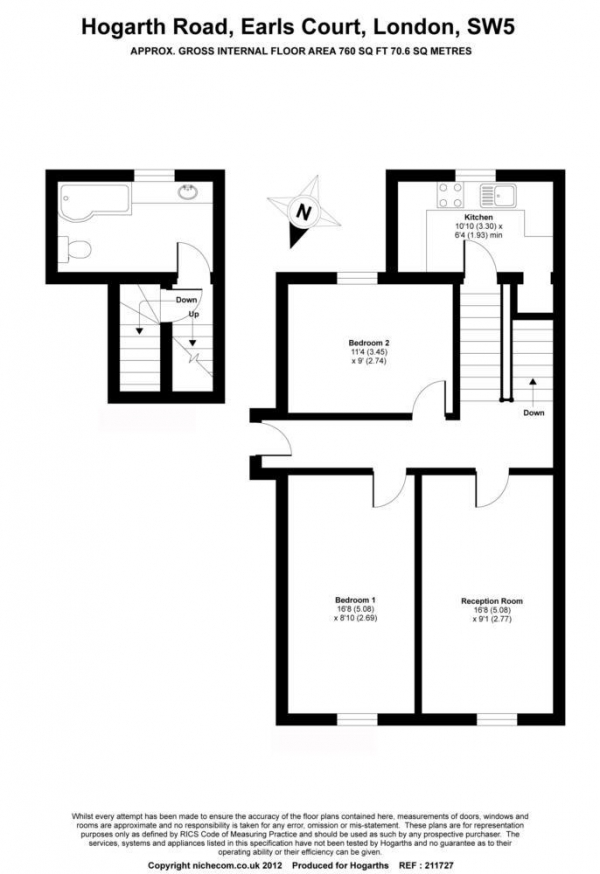 Floor Plan Image for 2 Bedroom Apartment for Sale in Hogarth Road, Earl`s Court