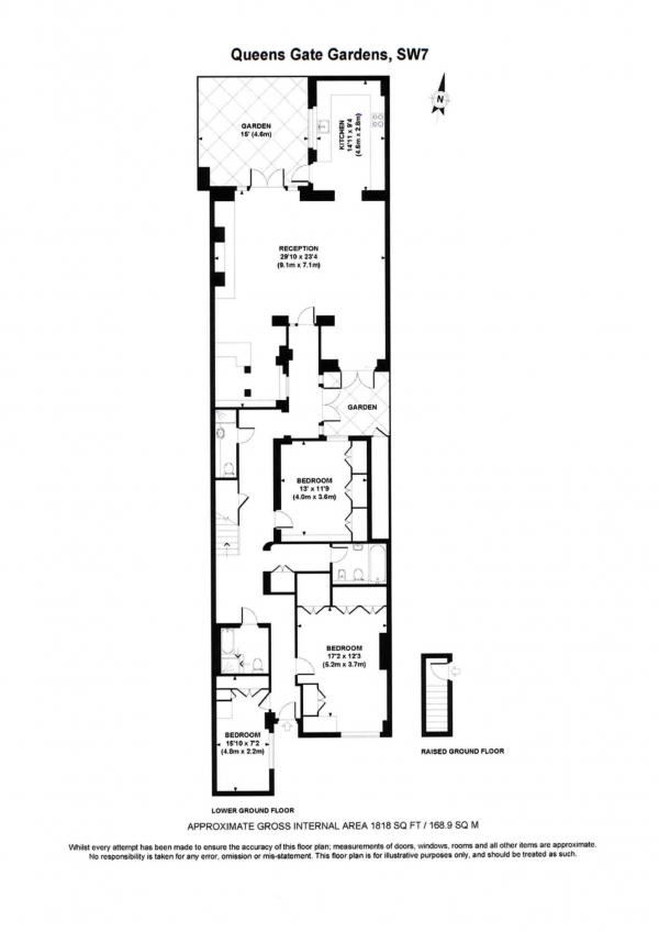 Floor Plan Image for 3 Bedroom Apartment to Rent in Queens Gate Gardens, South Kensington