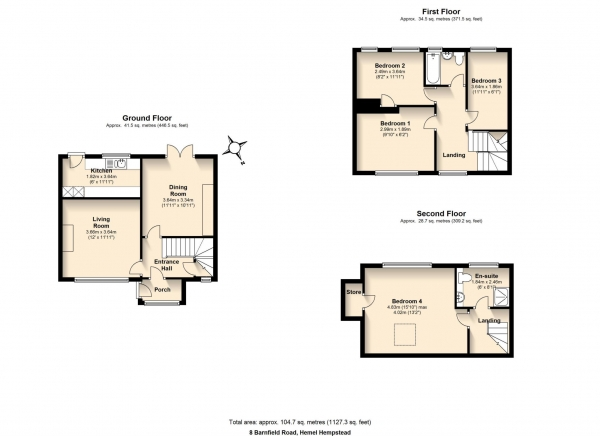 Floor Plan Image for 4 Bedroom Terraced House for Sale in Nash Mills Borders