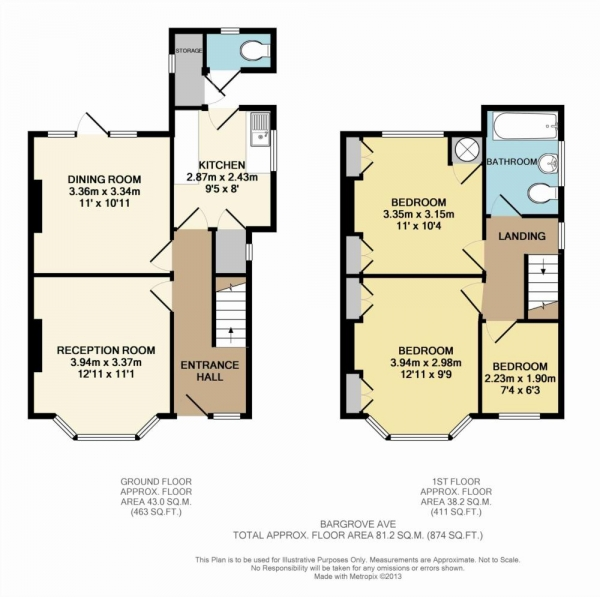Floor Plan Image for 3 Bedroom Semi-Detached House for Sale in Bargrove Avenue, Boxmoor