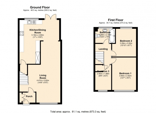 Floor Plan Image for 3 Bedroom Terraced House for Sale in Woodhall Farm