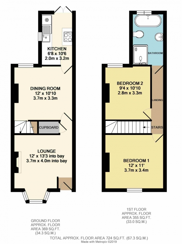 Floor Plan Image for 2 Bedroom Terraced House for Sale in Lower Field Road, Reading