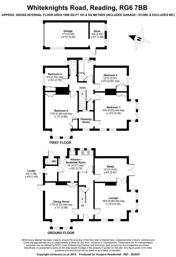 Floor Plan Image for 4 Bedroom Detached House for Sale in Whiteknights Road, Reading