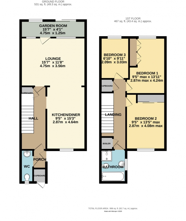 Floor Plan Image for 3 Bedroom Terraced House for Sale in Drewett Close, Shinfield
