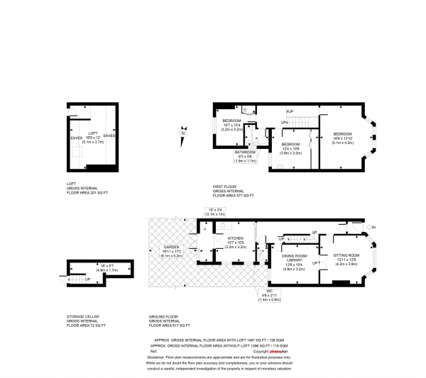 Floor Plan Image for 3 Bedroom Terraced House for Sale in Leckford Place, Walton Manor, Oxford