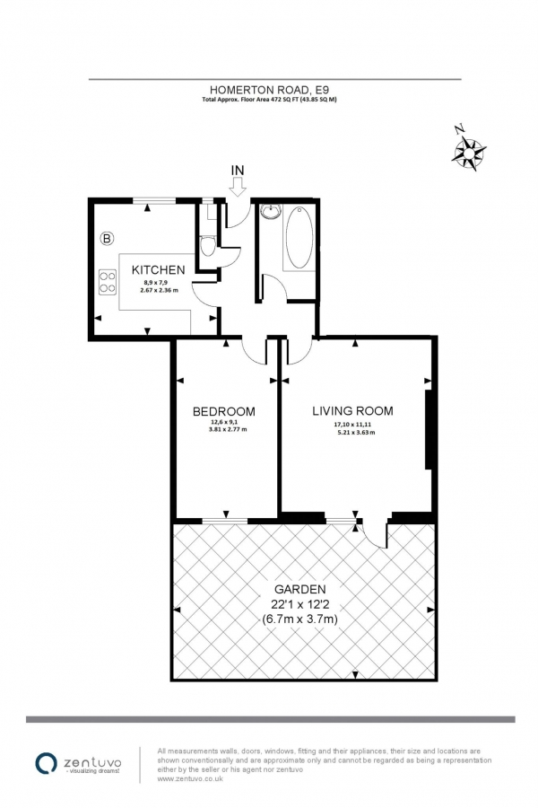 Floor Plan Image for 1 Bedroom Apartment for Sale in Homerton Road, Homerton
