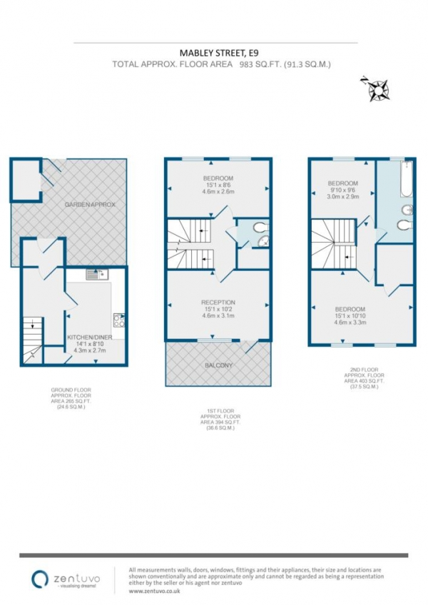 Floor Plan Image for 3 Bedroom Maisonette to Rent in Mabley Street, Hackney