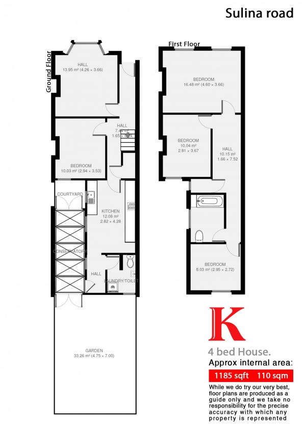 Floor Plan Image for 4 Bedroom Terraced House to Rent in Sulina Road, London, London SW2