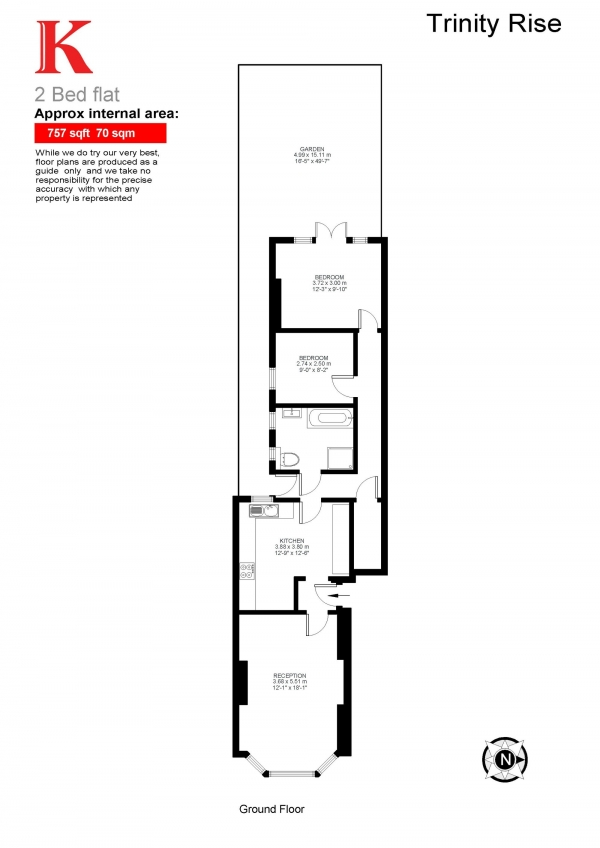 Floor Plan Image for 2 Bedroom Flat for Sale in Trinity Rise, Herne Hill, London SW2